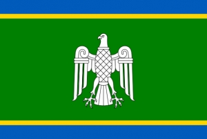 On the green background of the Chernivtsi region's flag is displayed a white falcon, which is a symbol of beauty, courage and intelligence. The green symbolizes Bukovyna, the blue and yellow stripes – rivers and cornfields. The flag was adopted on December 20, 2001.