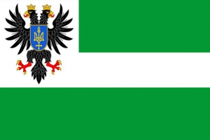 The green colour in the Chernihiv region's flag represents Polissya and forest-steppe. The white bar shows the Desna River. In the top left corner of the flag - the region's coat of arms. The flag and the coat of arms was approved on July 11th 2000.
