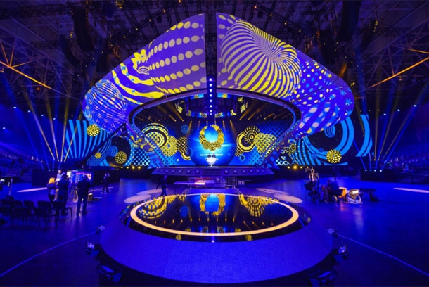 The stage for Eurovision 2017 at the International Exhibition Center in Kyiv on April 28, 2017.