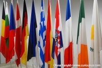 Day for the staff of the diplomatic service. Flags of the European Union countries.