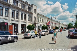 Karl Marx Street – one of Simferopol's pleasant pedestrian streets. Residents and business people may drive there at a slow speed. 2007.