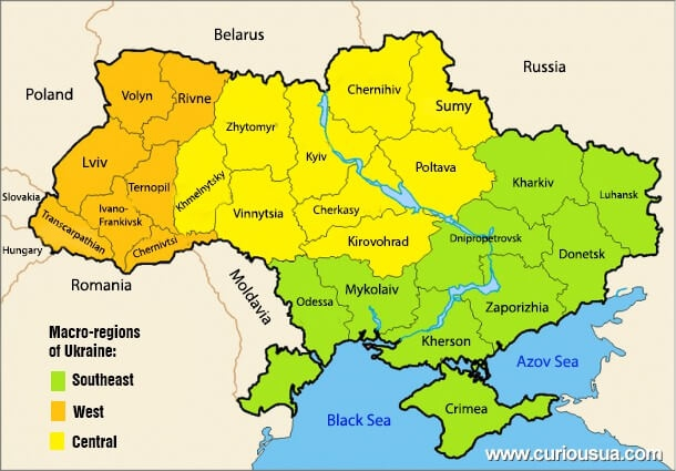 The map of Ukraine is divided into macroregions and regions and presents the borders with other countries.