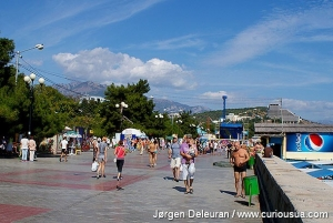 The beach promenade in Alushta was always full of tourists. 2010.